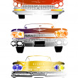 Постер, плакат: Front view of retro cars
