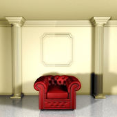 Red classic armchair — Stock Photo