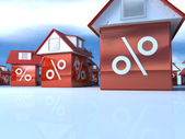 3D house with percent symbol — Stock Photo