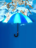 Flying umbrella with dollar banknotes — Stock Photo