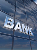 Signboard Bank in glass building — Stock Photo