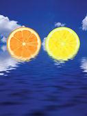 Slices of orange and lemon — Stock Photo