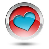 Blue heart button — Stock Photo