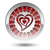 Red Heart button — Stock Photo