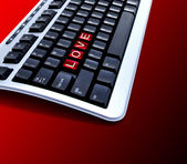 Red love key on keyboard — Stock Photo