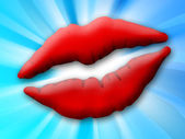 Print of red lips — Stock Photo