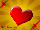 Shining red heart — 图库照片