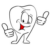 Cartoon tooth with thumb up — Стоковое фото