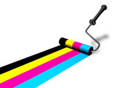 Roller painting a colorful lines — Stock Photo