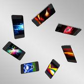 Set of 3d smartphones — Stock Photo