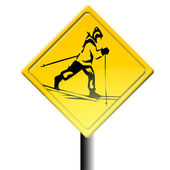 Road sign for skiers — Stock Photo