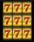 Illustration of lucky triple seven jackpot — Stock Photo