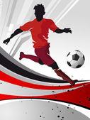 Silueta del futbolista con la bola — Foto de Stock