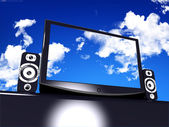 Black stylish glossy widescreen TFT display with blue sky and clouds — Stock Photo