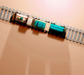 Toy train with carriages — Stockfoto