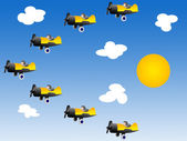 Cartoon airplanes in the sky — Stock Photo