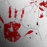 Bloody print of a bleeding hand — Stock Photo #40092757