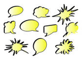 Colorful, empty and blank comic speech bubbles stickers set — Stock Photo