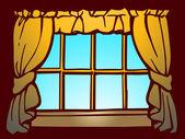 Okna zasłony — Zdjęcie stockowe