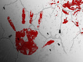 Bloody print of a bleeding hand — Stock Photo