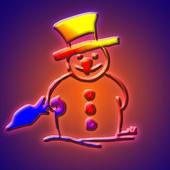 Snowman with umbrella — Stockfoto