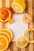 Citrus with empty cookbook close up — Stok fotoğraf