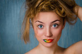 "Girl with ""rainbow"" lips — Stock Photo"