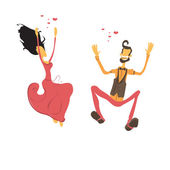 Couple in love, lovers dancing — Stock Vector