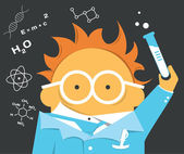 Crazy scientist in glasses with a bulb — Vettoriale Stock