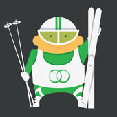 Skier with skiing equipment — Stock Vector