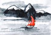 Nawy z czerwony żagiel żagle nad rzeką — Zdjęcie stockowe