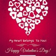 Red valentines day greeting card with white hearts — Stock Vector #39917325