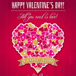 Red valentines day greeting card with heart and wishes text — Stock Vector #40015433