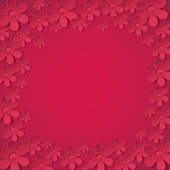 Red valentine background with many flowers, vector — Stock Vector