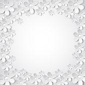 Fondo de San Valentín con muchas flores blanco, vector — Vector de stock