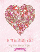 Pink background with valentine heart , vector — Vector de stock