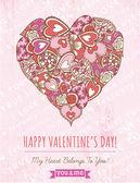 Rose fond avec coeur Saint-Valentin, vector — Vecteur
