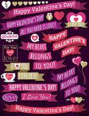 Set of ribbon valentine's design, vector — Stock Vector