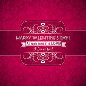 Cartolina di San Valentino con cuori e desideri testo — Vettoriale Stock