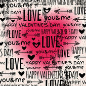 Achtergrond met rode valentine hart en wensen tekst, vector — Stockvector