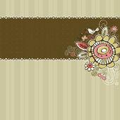 Hand draw flowers on beige striped background — Stockvector