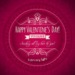 Red valentines day greeting card with heart and flower — Stock Vector