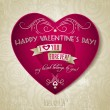 Valentines day greeting card with red heart, flower and text — Stock Vector