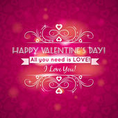 Pink valentines day greeting card with hearts, vector — Stock Vector