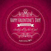Carte de voeux Saint Valentin rouge avec coeur et fleur — Vecteur