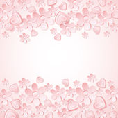 Pink background with valentine heart and flowers — ストックベクタ