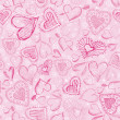 Wektor stockowy : Pink background with scribble hearts, vector