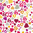 Background with hearts and keys, vector — Stock Vector #40129541