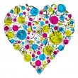 Big heart with many scribble hearts, vector — Vettoriale Stock