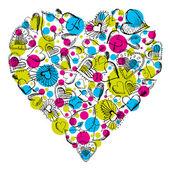 Μεγάλη καρδιά με πολλές καρδιές σκαριφήματος, διάνυσμα — Διανυσματικό Αρχείο